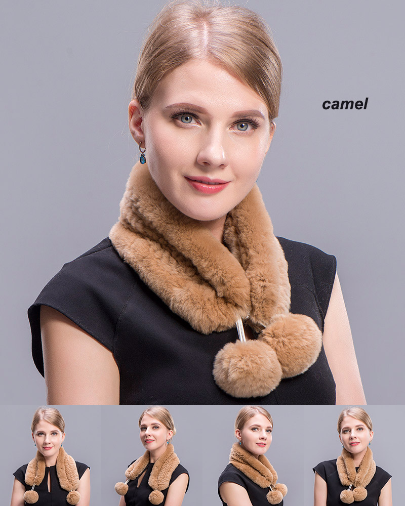 rex rabbit short scarf camel 2