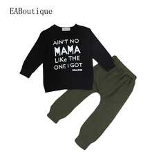 EABoutique  Winter Rock Fashion Letter MaMa printed long sleeve t shirt with pants baby boy clothing set 2 piece set