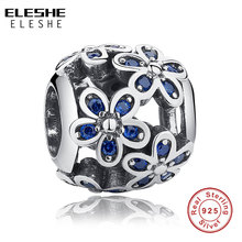 Buy ELESHE 925 Sterling Silver Daisy Plant Flower Charm Blue Crystal Bead Fit Original Pandora Bracelet Necklace Authentic Jewelry for $7.22 in AliExpress store