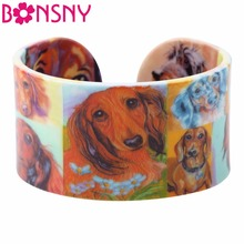 Bonsny Acrylic Design Love Wide Dachshund Dog Bangles Bracelet Jewelry For Women 2017 New Animal Bangle Jewelry Gift For Girls(China)
