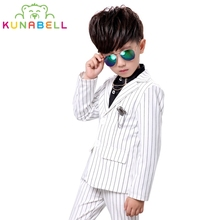 Boys Wedding Birthday Dress Kids Brand White Suit Gentleman Boys Blazer Jacket Shirt Pant Formal Suit Children Clothing Set B032