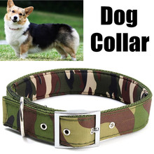 S / M / L Adjustable Camouflage Canvas Pet Dog Collar Lead Leash Connect Safety Necklace Chain Ring Soft Liner Padded Neck Strap