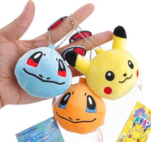 Super CUTE MIX Designs - 7CM Pikachu Plush Stuffed Toy Keychain DOLL , Kid's Birthday Party Gift Plush Toys , Decor Pendant TOY(China)