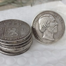 1873.Netherlands, William III, 2 1/2 Gulden Silver Copy Coins(China)