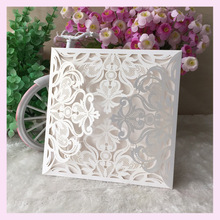 50pcs /lot lace wedding decoration invitation card four folded card Bat Mitzvah card Jewish blessing card bes wishes card Qj162
