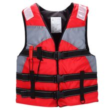 Adult Sailing Swimming Life Jacket Vest Foam Floating Waterproof oxford With a whistle (red)(China)