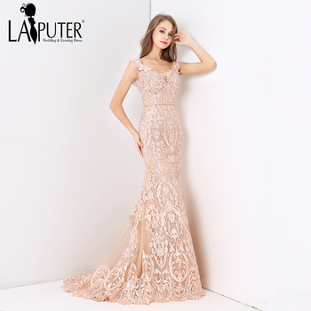 Laiputer 2018 Sexy Mermaid V-neck Luxury Beading Pearls Dusty Pink Lace  Crystal Vintage Arabic Long Formal Evening Prom Dresses d24c907d3135
