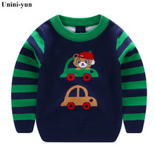 Boys Girls O-neck Cars print Striped Baby Kids Sweaters Soft Warm Sueter Infantil Autumn Winter Children's Sweater Coats 24M-7T(China)