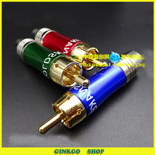20pcs/lot On Sale Brass Gold Plated RCA Plug Color Difference Lotus Audio Jack For Gold Snake