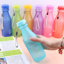 Water Bottle Sport Bike Portable Leak-proof 550ml Plastic Frosted Creative Fashion Lemon Juice Running Camping Bottle BPA Free(China)