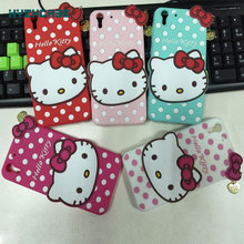 For HTC Desire Eye 3D Polka Dot Hello Kitty KT Big Bow Cute Cat Animal Protective Soft Silicone Rubber Back Covers Phone Case
