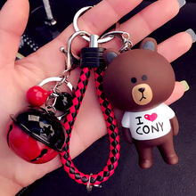 Cute Cartoon Little Rabbit & Bear Doll Keychain Leather Rope Key Holder Metal Bell Key Chain Keyring Charm Bag Auto Pendant Gift(China)