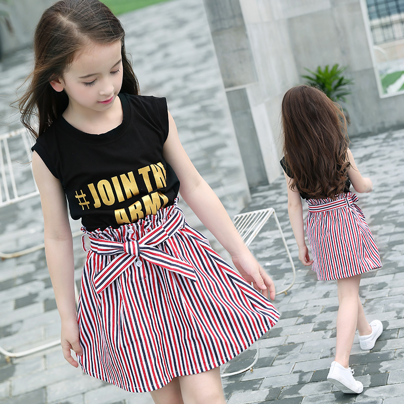 Kids Wearing Summer Vest T-Shirt Two-piece Striped Skirt Set Teenager Girls Clothing Sets Sleeveless Tees+Skirt Suit Size 10 12<br>