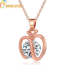 2017 New Arrival Hot Sale Fashion Accesories Charm Cubic Zircon Small For Apple Pendant Necklace Women Jewelry