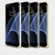 Aluminium Metal For Samsung Galaxy S7 S7 Edge Double Color Bumper Frame Cover Case Luxury 3D Curved Design Mobile Phone Skin(China)