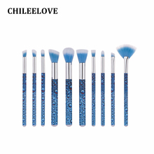 CHILEELOVE 10 Pcs Base Cosmetics Makeover Makeup Brushes Kit Roll Printing Water Shape For Women Girl Foundation Brush