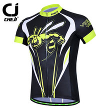 CHEJI Cycling Clothing MTB Clothes Short Sleeve Hornet Bicycle Bike Shirts Jersey Men Yellow Black - Uriah Store store