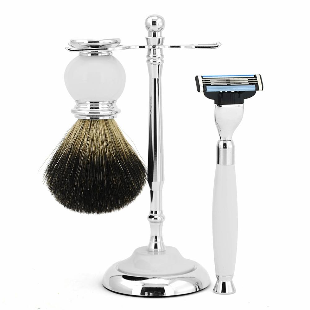 ZY Classic Mens Shaving Set Kit Safety Blade Razor + Shave Beard Brush Stand Holder + Normal Badger Soap Brush  <br>