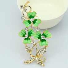 Charming Crystal Enamel Green Flower Leaf Brooch Pins for Women Wedding Costume Brooches Fashion Accessories Gift Broche XZ295
