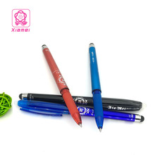 Xiamei Stationary Store 0.5mm Erasable Gel Pen Friction Ink Black Blue Pen A Pen 2 Uses One Side Eraser One Side Touchscreen Pen(China)