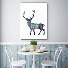 Abstract Wall Pictures Canvas Painting Deer Pine Forest Nordic Natural Living Room Art Decoration Picture Scandinavian No Frame(China)