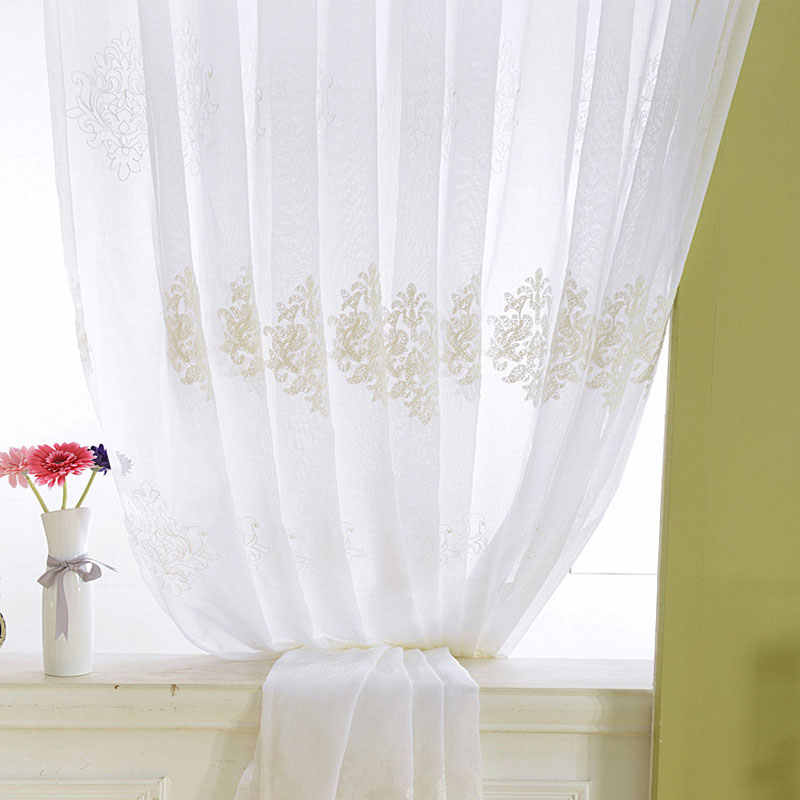 LuoShanNa White Flowers Curtain Korean Bedroom Windows Embroidered Pastoral Floral Curtains Tulle For Living Room Kitchen Sheer