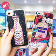 AKI Glitter Liquid Quicksand Phone Cases for iPhone 6 6S Plus Case Bling Unicorn Water Sequins Paris for iPhone 7 8 X Plus Case(China)