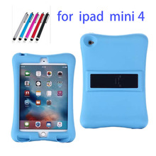 Rubber Case for Apple ipad mini 4 full body protective silicone tablet PC Cover with kickstand silicon shell coque +Stylus