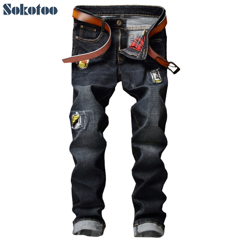 Sokotoo Mens casual hole patch ripped jeans Slim straight black denim pants Long trousersÎäåæäà è àêñåññóàðû<br><br>