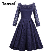Tonval Long Sleeve Lace Floral Pleated Dress Charming Off Shoulder Women Wear to Christmas Party Dresses Vintage Sexy Dress