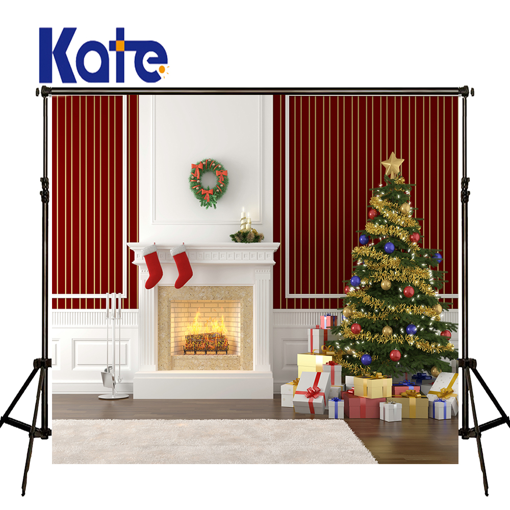 KATE Christmas Backdrops Photography Christmas Tree Backdrop Fireplace Garland Background Red Backdrop Newborn Photography<br>