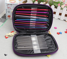 22Pcs Set Multi-colour Aluminum And Silver Crochet Hooks Needles Knit Weave Craft Yarn Sewing Tools & Accessory with case bag