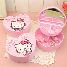 Cute Cartoo Cat Cosmetic Jewelry Debris Storage Boxs Bijoux Gift Box Case Holder Makeup Tools Table Organizer With Mirror