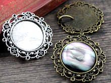 New Fashion  3pcs 25mm Inner Size Antique Silver Baroque Style Cabochon Base Setting Charms Pendant