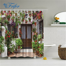 1Pcs Waterproof Amp Mildewproof Polyester Shower Curtain Nautical Anchor/Greenery Trees/Spanish House Bathroom Decor With Hooks(China)