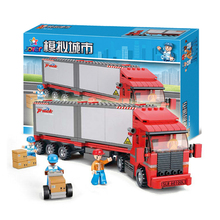 B0338 City Double Van Freight Train building bricks blocks Toys for children Game Truck Compatible with Decool Lepin Bela