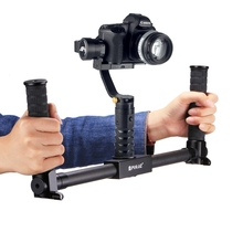 PULUZ Professional Dual Handheld Grip Bracket Gimbal Extended Handle Carbon Fiber Metal Stabilizer 1/4 Screw DSLR Camera Bracket(China)