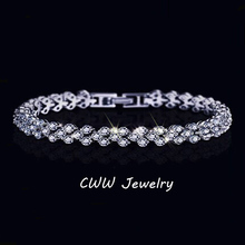 CWWZircons Fashion Rome Design Pave Chain Link AAA+ Cubic Zirconia Round Crystal Tennis Bracelets For Women CB050