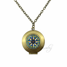 Antique Bronze Plated Glass Dome Necklace Vintage Sailor's Compass Locket Pendant Compass Rose, Wind Rose, Nautical Jewelry(China)