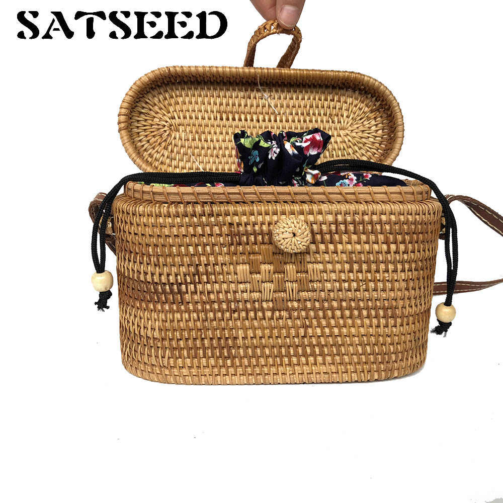 Vietnamese Handmade Rattan Knit Leather Handbag Womens Bag<br>