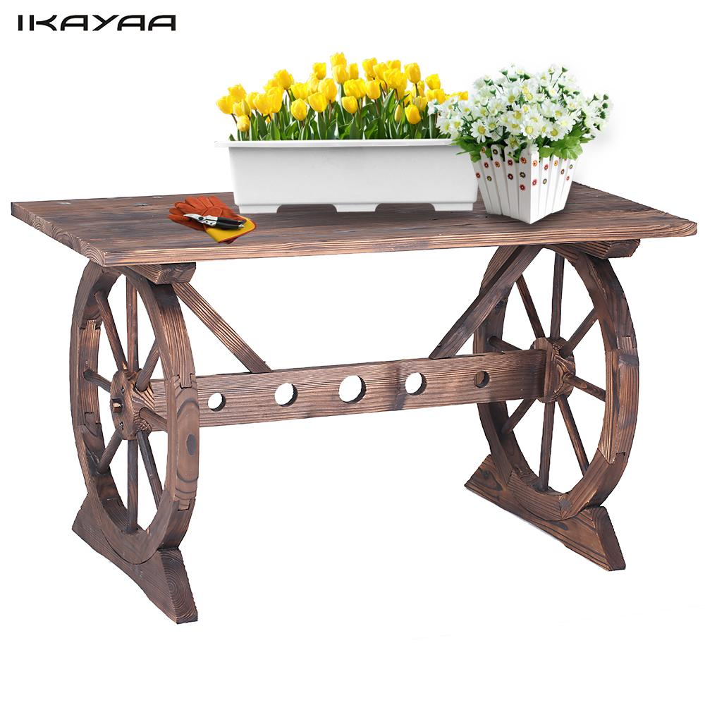 iKayaa Wagon Wheel Wood Outdoor Potting Table Work Station Garden Plant Stand Table Garden Furniture US DE Stock(China)