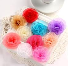 20Pcs/Lot Handmade Size 5Cm Satin Fabric Rose Artificial Flower For Make Wedding Bouquet Decor DIY Accessories 15color