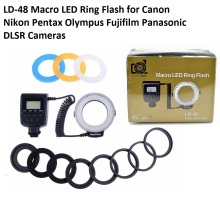 Lightdow LD-48 Macro LED Ring Flash Light with LCD Screen Display for Canon Nikon Fujifilm Pentax Olympus DSLR Cameras