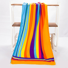 SZS Hot 70*140cm Colorful Rainbow Absorbent Microfiber Bath Beach Towel Drying Washcloth Swimwear Shower(China)