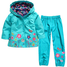 2017 Spring Girl's Clothing Set Flower childrens Raincoat Jacket Sport Suit Girls Clothes Windbreaker Jackets+trousers 2pcs suit