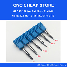 6PCS HRC55 Tungsten Steel Carbide double flute End Mill Bit Milling Cutter Tools Ball Nose CNC Router R 0.5,0.75,1,1.25,1.5,2mm(China)
