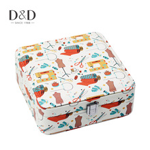 D&D Creative Sewing Element Printing Storage Box Sundries Container Tin Candy Case Jewelry Organizer Case