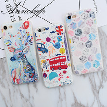 New watercolor Dear London Bus Travel Marble Pattern Cover Case For iphone 7 Plus 6s 6 Plus 5s SE Phone Cover Cases Capa Funda