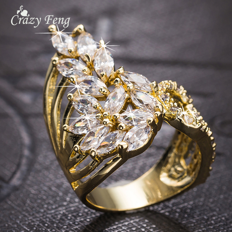 Crazy Feng Fashion Jewelry Ring Gold-color Luxury AAA Cubic Zircon Finger Ring Women Wedding Engagement Jewelry Accessories