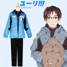 DJGRSTER YURI on ICE Katsuki Yuri Cosplay Costume Men Sport Suit Sportwear Outfit Blue Black Jacket+Pants Full Set(China)